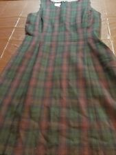 Laura Ashley 100% wool sleveless dress women's size 8 plaid multicolored