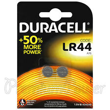 2 x Duracell Alkaline LR44 batteries 1.5V A76 AG13 L1154 Coin Cell Pack of 2