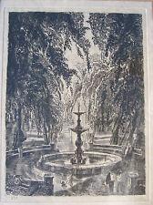 DECARIS-LE JARDIN-LA FONTAINE-V.1930-GRAVURE EAU-FORTE SIGNÉE-ETCHING-RADIERUNG