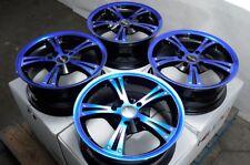 "15"" Wheels Yaris VW Jetta Corolla Honda Accord Civic Miata Blue Black Rims 4 Lug"