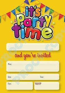 #74 ITS PARTY TIME Pack of 10 kids children adult birthday party INVITATIONS