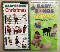 2 BABY SONGS SERIES VHS VIDEO Music CHRISTMAS & ANIMALS  *  LOT SET OOP HTF