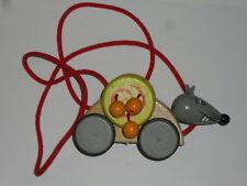 Objet, animeaux à tirer en bois  (thème:souris) (taille:13,5X7,5X5,5cm)