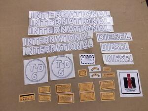 INTERNATIONAL TD-6 0R TD-9 CRAWLER VINYL DECAL SET. ALL DECALS ON TRACTOR.