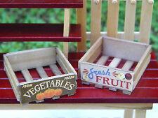 Miniature Dollhouse FAIRY GARDEN Accessories ~ Wood Fruit & Vegetable Crates NEW