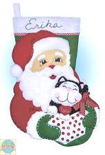 Felt Embroidery Kit Design Works Santa Claus & Kitten Christmas Stocking #DW5096