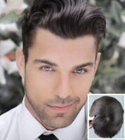 Mono Lace+PU Human Hair Toupee for Men Gents Hairpiece Hair Replacement Toupees