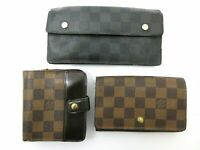 Auth 3 Item Set LOUIS VUITTON Damier / Damier Graphite Wallet PVC Leather 69619
