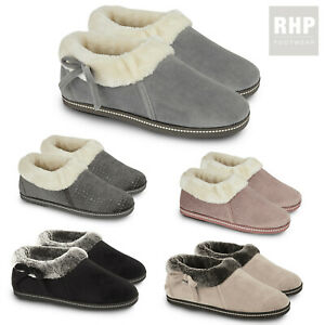 Ladies Fur Lined Winter Womens Slipper Warm Boot Suede Thermal Ankle Bootie shoe