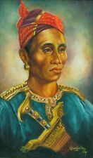 MORO PHILLIPINES MAN WITH KRIS 1964  L BURYIULLUS OIL PORTRAIT