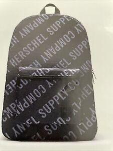 New Herschel Supply Co Designer Black Logo Packable Lightweight Backpack School