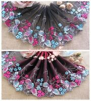 """6""""*1Y Embroidered Floral Tulle Lace Trim~Black+Blue+Azalea Pink~Forever Charm~"""