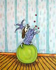 Basset hound JUGGLING JESTER BALANCING ACT picture  DOG ART NOTE CARDS