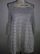 C&C California Size Large 100% Linen Gray White Smocked Striped Off Shoulder Top