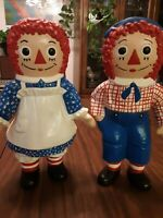 Ceramic Raggedy Ann and Andy Set 1974 Bobbs Merrill Plaster Figure Statue Pair