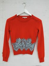 CARVEN Womens Red Wool and Lace Sweater Size XS