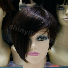 New Style Fashion 100% Real Human Hair Full Wig Short Women Straight  Brown