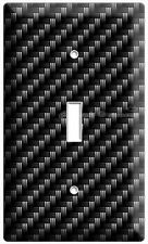 CARBON FIBER STYLE SINGLE LIGHT SWITCH COVER WALL PLATE GARAGE MAN CAVE ART DECO