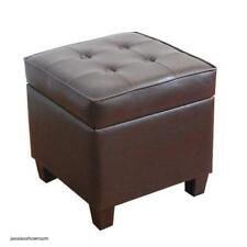 Square Brown Ottoman Storage Organize Foot Stool Coffee Table Contemporary New