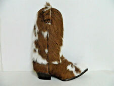 Long hair calf leather brown and white cowboy boots men size 9 US in stock