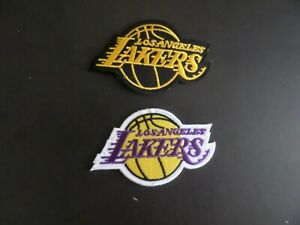 LOT OF 2-LOS ANGELS LAKERS BASKETBALL EMBROIDERED IRON ON PATCHES