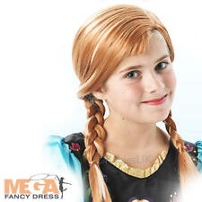 Frozen Anna Wig Girls Fancy Dress Disney Fairytale Kids Childs Costume Accessory