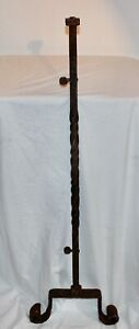Antique Wrought Iron Architectural Fence Stand Post #2 Gothic Carved Legs Garden