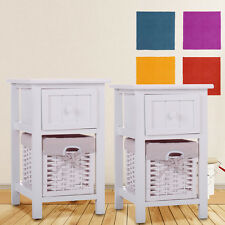 Pair of White Chic Nightstand End Side Bedside Table w/Wicker Storage Wood