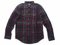 Abercrombie Fitch Men M Burgundy Red/ Black/ Gray Check Plaid Flannel Slim Shirt