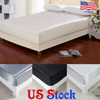 Breathable Mattress Bed Soft Protector Elastic Solid Cover Silk Home Decor US