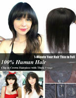 Handmade 100% Human Hair Topper Toupee Clip Hairpiece Bangs Bob Top Hair Topper