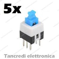 5x Micro Deviatore a pulsante bipolare con ritenuta 30V volt 0,3A ampere 7x7mm