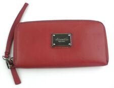 Kenneth Cole New York Red Genuine Leather Wristlet Zip Around Wallet Organizer