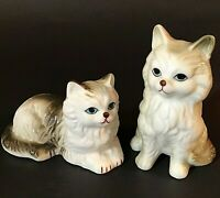 PERSIAN CATS SET OF 2 VINTAGE GRAY & WHITE BLUE EYES RED NOSE MOUTH BONE CHINA