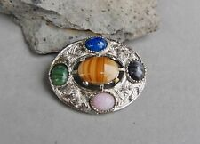 Celtic Scottish Shawl Cloak Pin Brooch Glass Gemstone Agates Silver Tone 1 3/4""