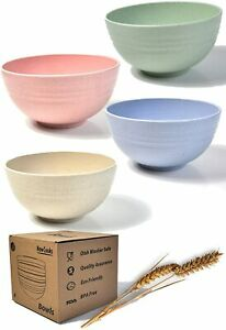 Unbreakable Snack/Baby Bowls 350ml Wheat Straw Degradable Bowl Set of 4 Nowcooks