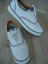 Fun Keds Women 9 M White Baseball Stitched Tennis Shoes Lace-Up Leather Sneakers