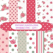 VINTAGE PASTEL PINK SHABBY CHIC SCRAPBOOK PAPER - 12 x A4 pages