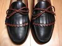 Men's Shoes ALLEN EDMONDS WOODSTOCK Kiltie Loafer Sz 11 EEE Black Brown Leather