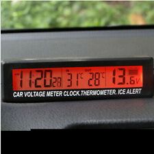 Outside Inside 12V LCD Car Temperature Thermometer Alarm Auto Digital Clock