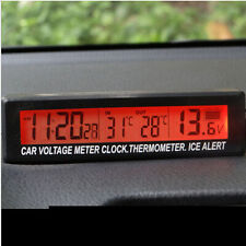 Auto Car LCD Digital Clock Thermometer Temperature Voltage Meter Battery Monitor