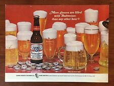 Vintage 1968 Original Print Ad BUDWEISER BEER Frank Sinatra ~More Glasses Filled