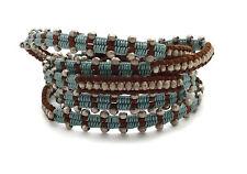 "CHAN LUU Silver Nugget Beaded Blue Thread Brown Leather 5 Wrap Bracelet 33""- 35"""