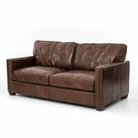 "72"" L Sofa Love Seat Top Grain Distressed Leather Vintage Cigar Brown Brass Trim"