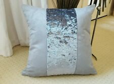 "WHY NEXT ? 4 X 18"" GREY FAUX SUEDE/SILVER METALLIC VELOUR STRIPE  CUSHION COVERS"