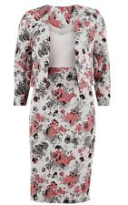 Gina Bacconi Jacquard And Crepe Dress And Jacket, Grey Size 16, XL