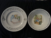 Wedgewood Peter Rabbit Child's Plate & Bowl Set Made in England 1991  EASTER