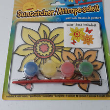 Flowers Suncatcher Painting 4 Paint Set Brush Kids Arts & Crafts Hobby Gift