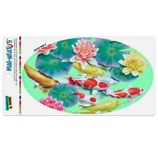 Koi Fish Pond Water Dance Car Euro Oval Magnet