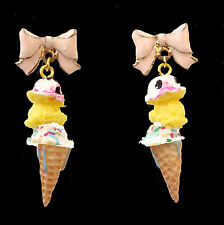 Earrings Chandeliers 3 Balls Ice, Ice-Cream Wafers and Pink Enameled Cut